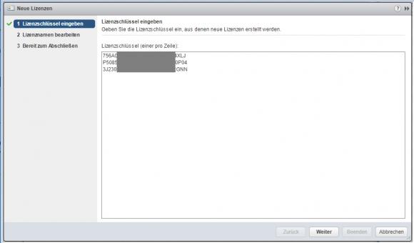Neue Lizenzschlüssel eingeben im vSphere Web Client
