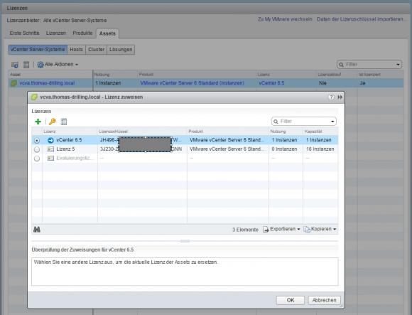Lizenzen an installierte Produkte zuweisen in VMware vCenter