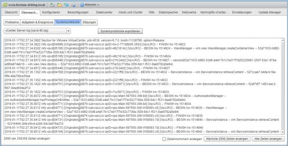 Log-Dateien des vCSA im Web Client betrachten