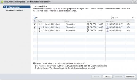 Log-Dateien im Web-Client exportieren
