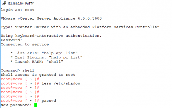 Ändern des root-Passworts mit passwd