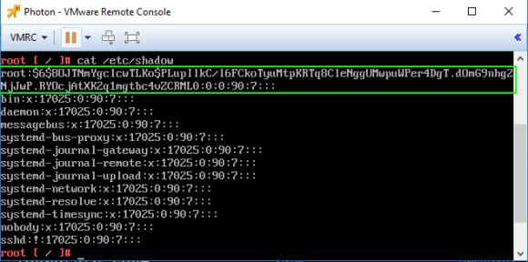 Die Datei etc/shadow von Photon-Linux, auf dem das vCSA beruht.