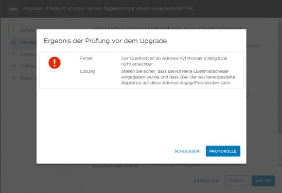 Die Upgrade-Prüfung scheitert daran, dass sie Quell-Applaince nicht über das Netzwerk erreichbar ist.