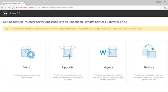 Über das Management-Interface des neuen Appliance lässt sich die Phase 2 der Migration erneut starten.