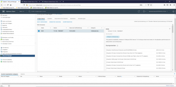 Tab in vLCM with the existing images for ESXi