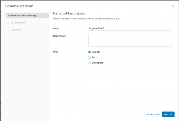 Create a new upgrade baseline in Lifecycle Manager