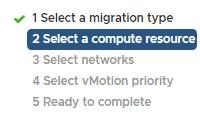 Arbeitsschritte des vMotion-Assistenten im vSphere Client