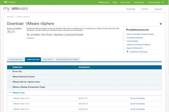 Die VMware-Tools kann man auch über die Download-Seite des Hypervisors beziehen.