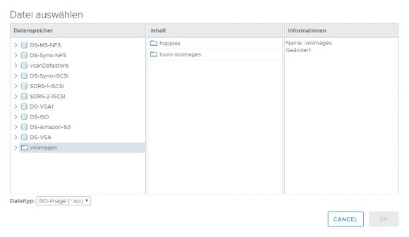 Dialog zum Mounten von ISO-Abbildern im vSphere Client