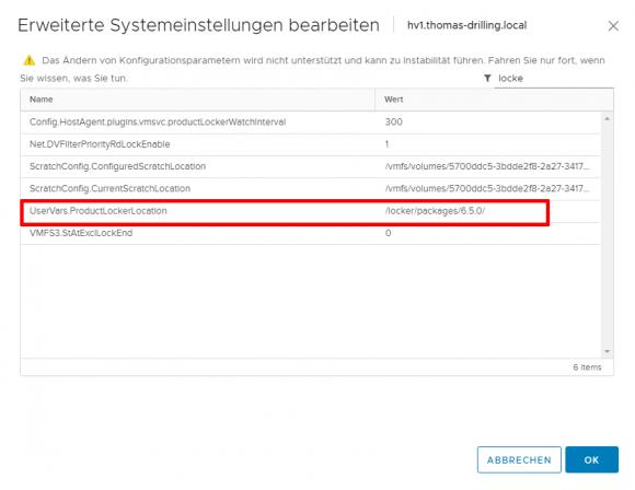 Konfigurationsparameter zum Ändern des Speicherorts für die ISOs mit den VMware Tools.