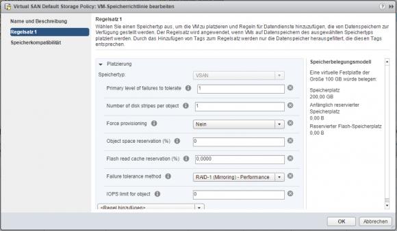 Die von VMware vorgebenen Speicherrichtlinien für Virtual SAN