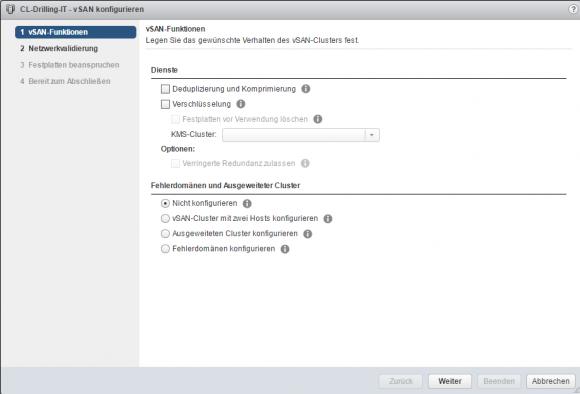 Die Konfiguration von vSAN 6.6 erfolgt über VMware vCenter.