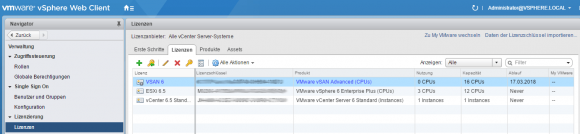 Eingabe des Lizenzschlüssels für vSAN in vCenter