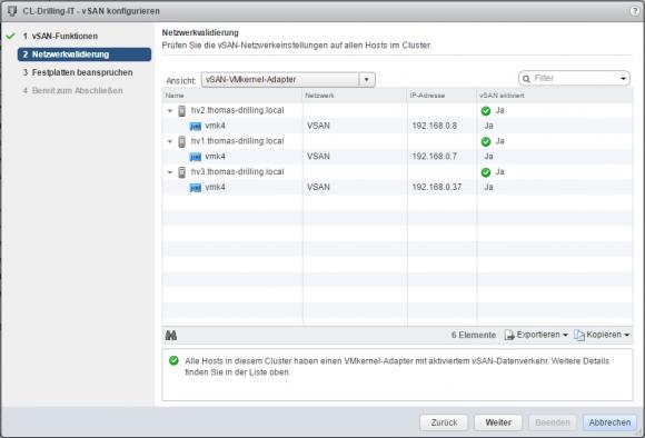 Die Netzwerkvalidierung prüft, ob auf den beteiligten Hosts die benötigten Kernel-Adapter vorhanden sind.