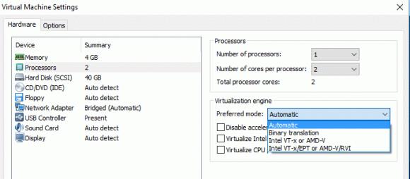 Die VMware Workstation unterstützt noch das Verfahren der Binary Translation, das größere Abweichungen der VM-Zeit verursacht.