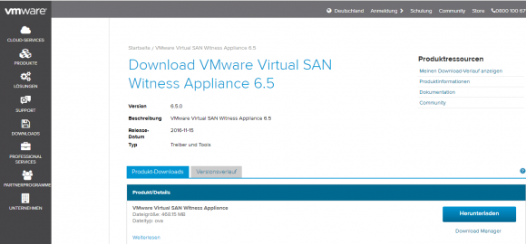 Die virtuelle Witness-Appliance steht als separater Download zur Verfügung