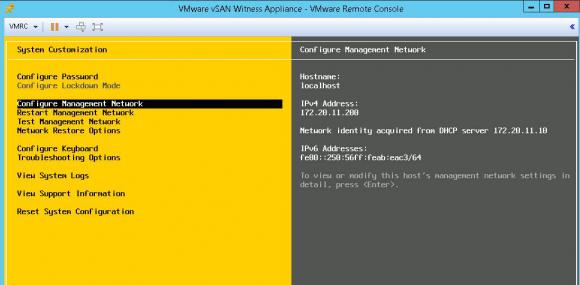 Anpassen des Netzwerks auf der DCUI des verschachtelten ESXi-Hosts