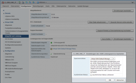 Periodischen Integritäts-Check einschalten und konfigurieren im Web Client
