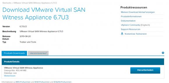 Die vSAN-Witness-Appliance kann in mehreren Versionen kostenlos von VMwares Website heruntergeladen werden.
