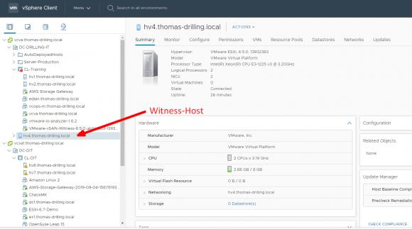 Der Witness-Host ist kein Mitglied des Host-Clusters, sondern nur des vSAN-Clusters.