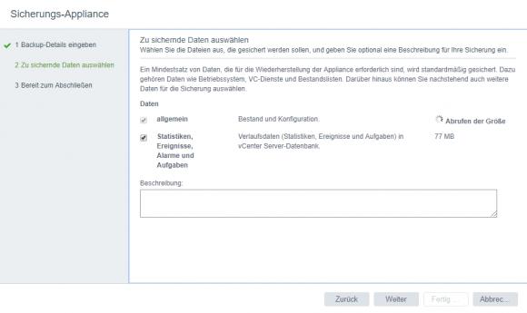 Vorsichtshalber sollte die Konfiguration der bestehenden vCSA vor dem Upgrade gesichert werden.