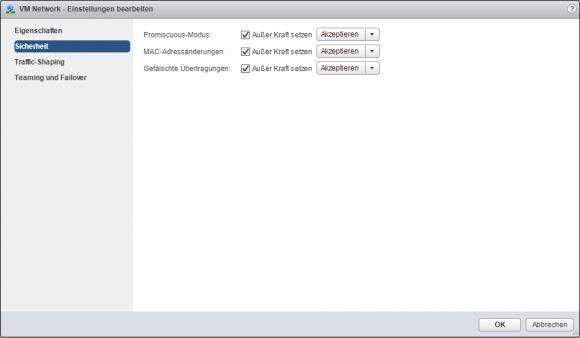 Das Upgrade erfordert, dass die Änderung von MAC-Adressen zugelassen wird.