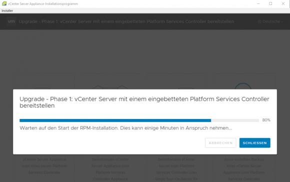 Einrichten der neuen vCenter Server Appliance auf Basis der OVA