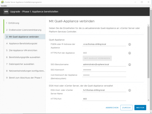 Zu Beginn benötigt der Assistent alle Informationen, um eine Verbindung mit dem Quell-Appliance herstellen zu können.