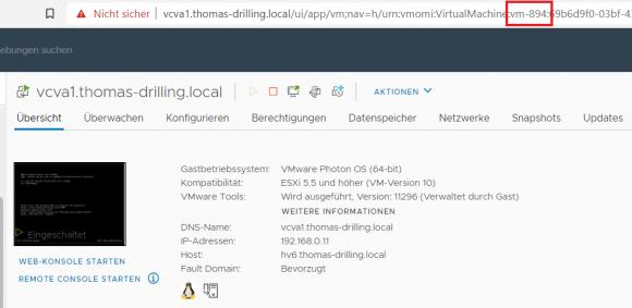 Die MOID der VM ist in der URL enthalten, wenn man die in vCenter öffnet.
