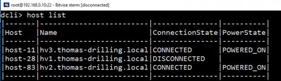 Auf der dcli erscheint der Host als disconnected, aber eine Verbindung mit ihm ist nicht möglich.
