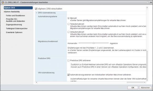 Migrationsschwellenwert einstellen im vSphere Web Client