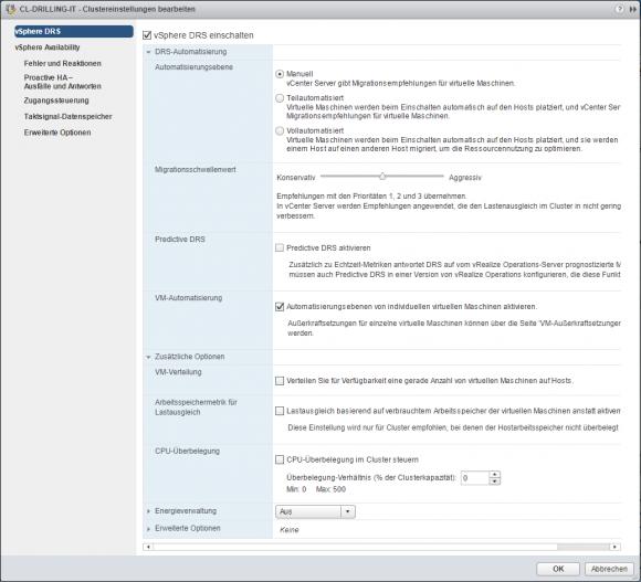Einstellungen zur Konfiguration von vSphere DRS