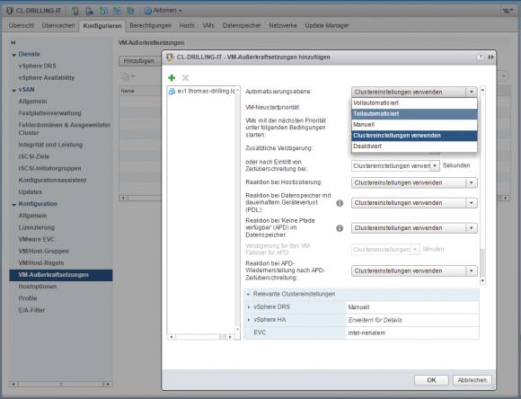 Eine Außerkraftsetzung erlaubt das Überschreiben der Cluster-weiten DRS-Konfiguration durch VM-spezifische Einstellungen.