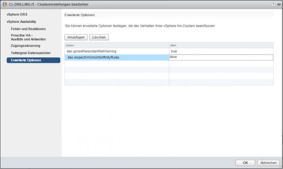 vSphere HA lässt sich über die erweiterten Optionen so steuern, dass es die Affinity Rules für DRS ignoriert.