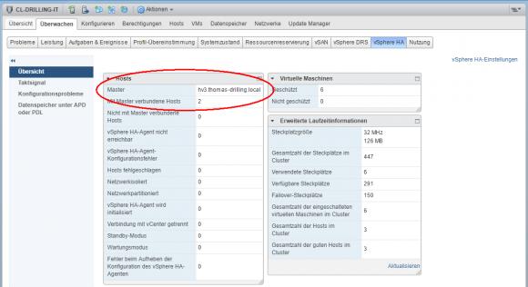 Aktuellen Master-Host eines HA-Clusters anzeigen im vSphere Web-Client