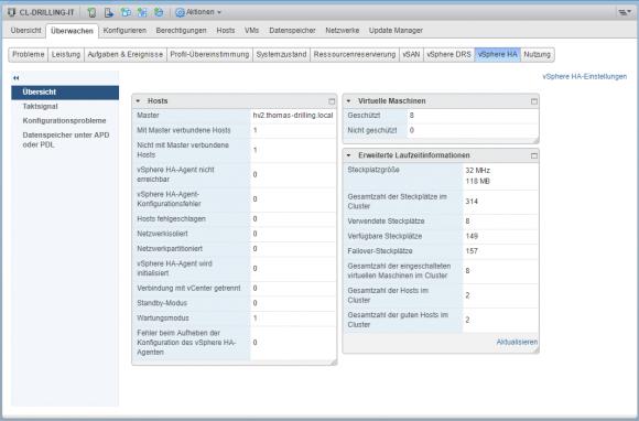 Die Übersicht zu vSphere HA liefert alle wichtigen Statusinformationen.