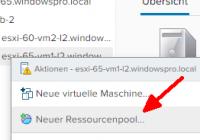 Neuen Ressourcen-Pool anlegen im vSphere Client
