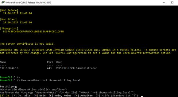 Remove-VMHost beseitigt den ESXi-Server aus der vCenter-Bestandsliste