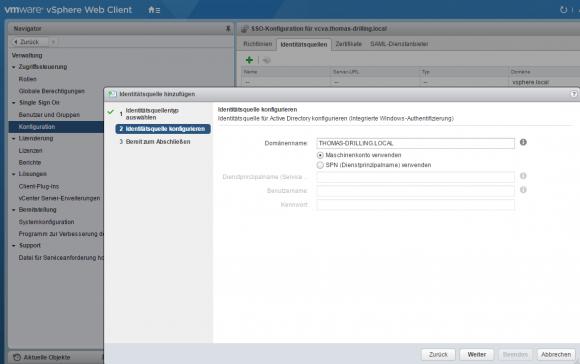 Active Directory als Identitätsquelle für vSphere SSO hinzufügen