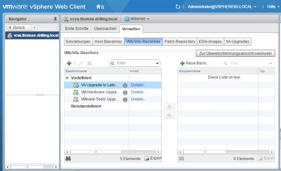 vSphere Update Manager (VUM) trennt die Baselines für VMs und VIrtual Appliances von jenen für die Hosts.