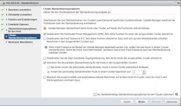 Für das Standardisieren von Clustern bietet der Update Manager zusätzliche Optionen.