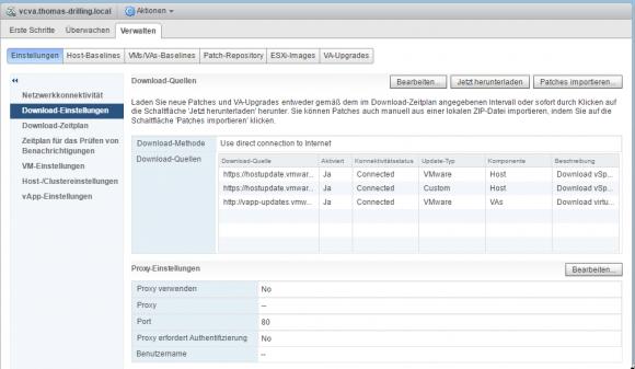 Konfiguration der Download-Einstellungen, u.a. Quellen und Proxies.