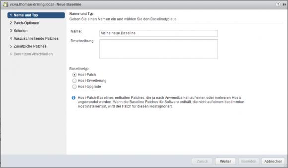 Der vSphere Update Manager bietet einen Assistenten zum Estellen neuer Baselines.