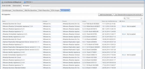 VUM stellt auch Updates für Appliances bereit, allerdings nicht für das vCSA.