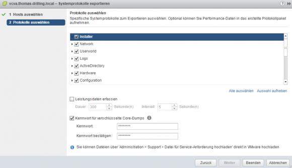 Kennwort zur Verschlüsselung eines Core-Dumps im vSphere Web-Client eingeben.