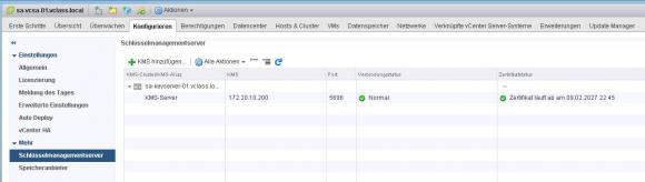 Statusanzeige für denKMS-Server nach dem erfolgreichen Hinzufügen zu vCenter.