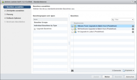Baseline zur Standardisierung der VMware Tools auswählen