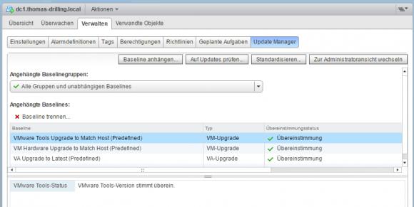 Ergebnis der erfolgreichen Compliance-Prüfung der VMware Tools und der vHardware.