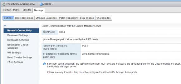 Konfiguration des vCSA-basierten VUM im neuen HTML5-Client