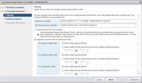 Die Standardisierung der VMware Tools kann beim Ein-/Ausschalten der VM oder zeitgesteuert erfolgen.